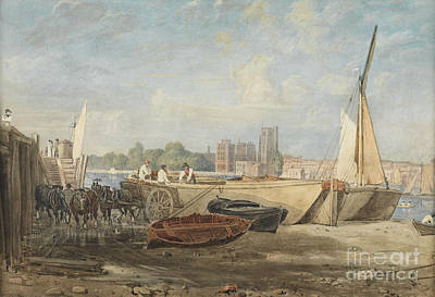 Horizontal Painting - Unloading Barges At Low Tide by Celestial Images