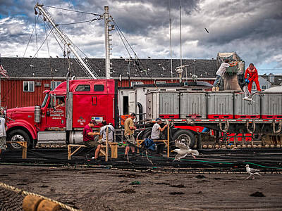 Truck Photograph - Unloading Fish And Mending Nets by Bob Orsillo