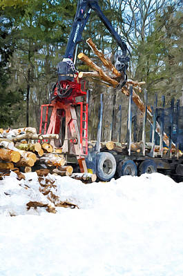 Snow Piles Painting - Unloading Of Logs On Transport by Lanjee Chee