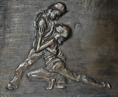 Dancer Relief Sculpture - Uno...dos by Eduardo Gomez
