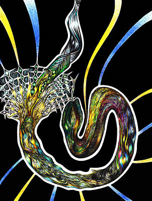 Visionary Art Drawing - Unravelling Sacred Knowlege by Adam Boshart