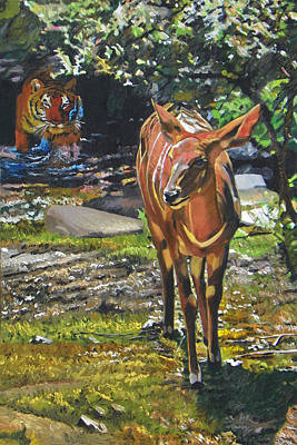 India Wildlife Painting - Unsuspecting by Kenneth Young