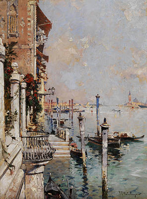 Illustrations Painting - Unterberger Views Over The Grand Canal by Celestial Images