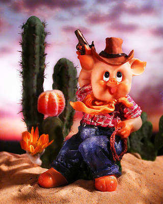 Cowboy Pig Print by Diane Bradley