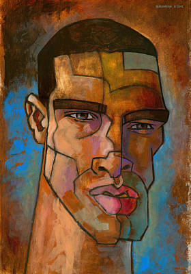 Angular Painting - Untitled Male Head August 2012 by Douglas Simonson