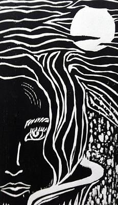 Moonlit Night Drawing - Untitled by Tanysha Bennett-Wilson