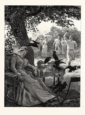 Tennis Drawing - Unwelcome Visitors Crows At A Tennis Party In India by English School