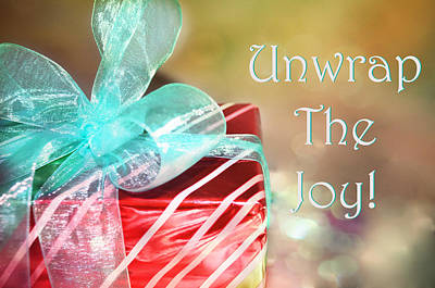 Paulette Wright Digital Art - Unwrap The Joy Xmas Card by Paulette B Wright
