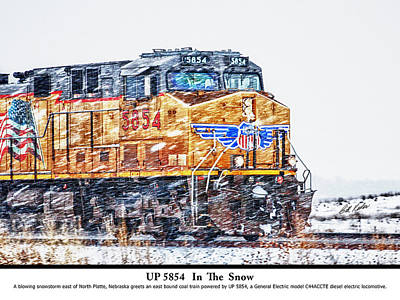 Train In The Winter Photograph - Up 5854 In The Snow With Description by Bill Kesler