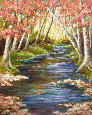 Babbling Brook Painting - Up A Creek by Vic  Mastis
