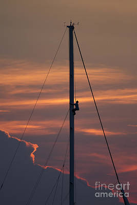 Up The Mast Of 72ft Alden Yacht Fearless Print by Dustin K Ryan