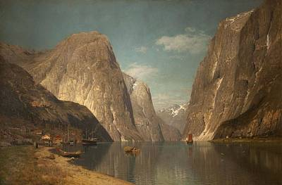 Norwegian Waterfall Painting - Up The Sogne Fjord, Near Gudangen, 1876 by Adelsteen Normann