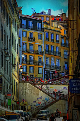 Up The Stairs - Lisbon Print by Mary Machare
