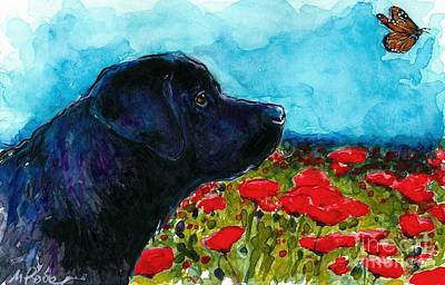 Black Labrador Puppies Painting - Updraft by Molly Poole