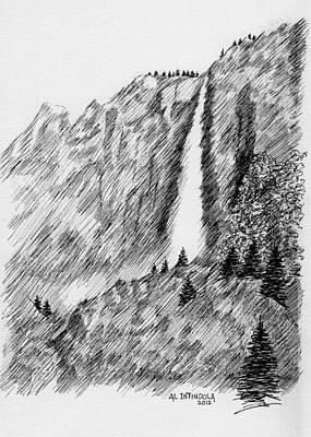 Yosemite National Park Drawing - upper falls in Yosemite by Al Intindola