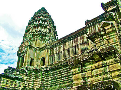 Angkor Digital Art - Upper Level Tower In Angkor Wat In Angkor Wat Archeological Park Near Siem Reap-cambodia by Ruth Hager