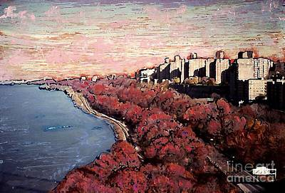 Upper Manhattan Along The Hudson River Print by Sarah Loft