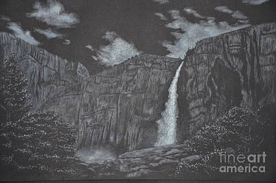 Yosemite National Park Drawing - Upper Yosemite Fall by David Swope