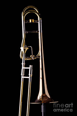 Marching Band Photograph - Upright Rotor Tenor Trombone On Black In Color 3465.02 by M K  Miller