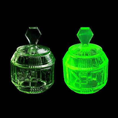 Uranium Glass Fluorescing Print by Science Photo Library