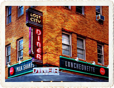 Urban Diner Luncheonette Lost City Baltimore Maryland Print by Donna Haggerty