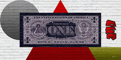 Urban Graffiti - Us One Dollar Bill Reverse Print by Serge Averbukh