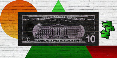 Urban Graffiti - Us Ten Dollar Bill Reverse Print by Serge Averbukh