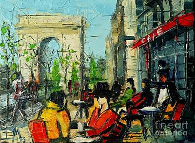 Blue Table Painting - Urban Story - Champs Elysees by Mona Edulesco