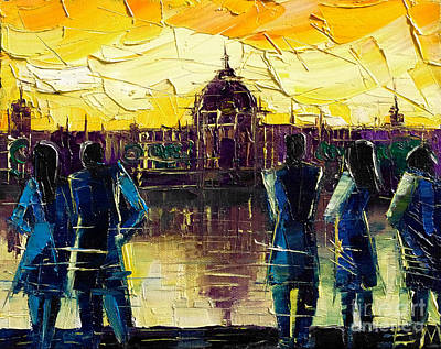 Reflections Of Sky In Water Painting - Urban Story - Hotel-dieu De Lyon by Mona Edulesco