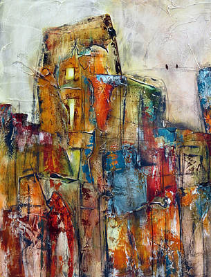 Moody Painting - Urban Town by Katie Black