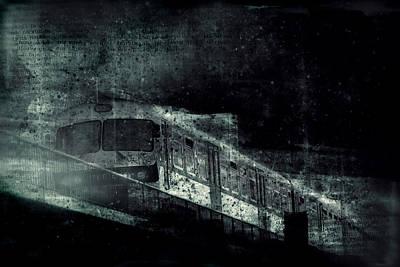 Abstract Digital Art - Urban Train Grunge Collage by Modern Art Prints