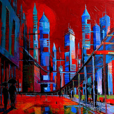 Skyscraper Painting - Urban Vision - City Of The Future by Mona Edulesco
