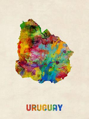 Latin America Digital Art - Uruguay Watercolor Map by Michael Tompsett