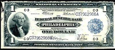 U.s. 1918 One Dollar Federal Reserve Note  Print by Lanjee Chee