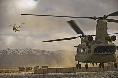 U.s. Army Ch-47 Chinook Helicopters Print by Stocktrek Images