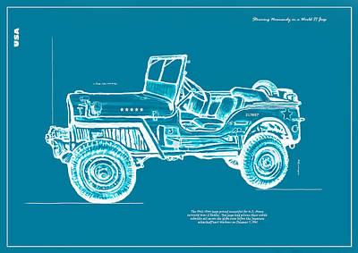 Charcoal Mixed Media - Us Army Jeep In World War 2 Art Sketch Poster by Kim Wang