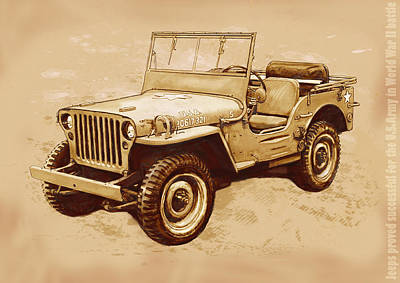 Stylized Mixed Media - Us Army Jeep In World War 2 - Stylised Modern Drawing Art Sketch by Kim Wang