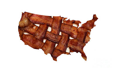 Food Photograph - Us Bacon Weave Map by Andee Design