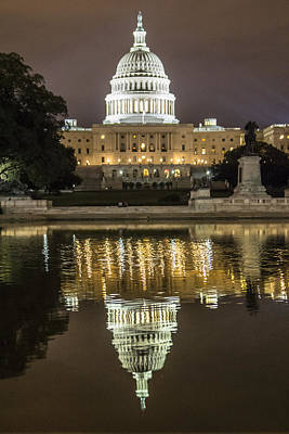 Us Capital At Night Print by John McGraw