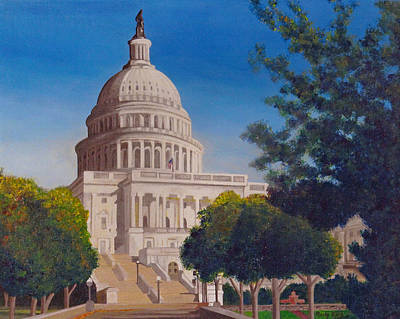 Federal Government Painting - U.s. Capital Building by Rocky Quate