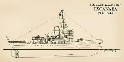 Us Navy Drawing - U. S. Coast Guard Cutter Escanaba by Jerry McElroy - Public Domain Image