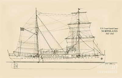 Us Navy Drawing - U. S. Coast Guard Cutter Northland by Jerry McElroy - Public Domain Image