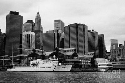 Us Coastguard Cutter Vessel Ship Berthed In Lower Manhattan New York City Print by Joe Fox