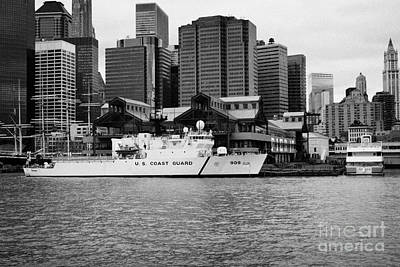Us Coastguard Cutter Vessel Ship Berthed In Lower Manhattan On The East River New York City Print by Joe Fox