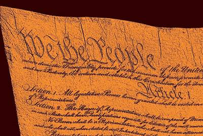 Us Constitution Closeup Sculpture Red Brown Background Print by L Brown
