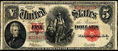 Us Five Dollar United States Note Series 1907 Print by Lanjee Chee