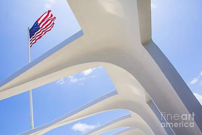 U.s.  Flag At The Uss Arizona Memorial Print by Diane Diederich