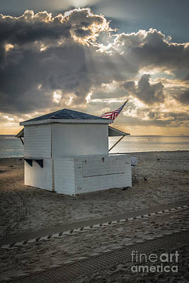 Us Flag On Beach Hut Illuminated By Early Morning Sun Print by Ian Monk