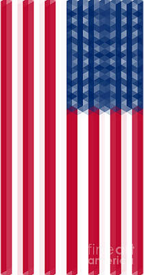 Independence Mixed Media - Us  Flag Vertical by Celestial Images
