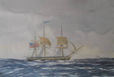 Us Frigate Gives Chase In Stormy Weather Original by Elaine Jones